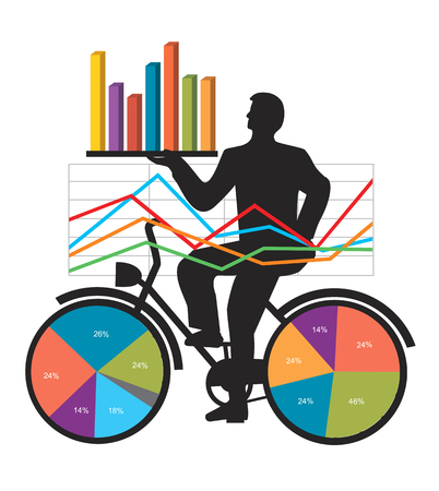 Economic Results Presentation charts.  Businessman on bicycle with charts and numbers presenting economic results. Vector available.