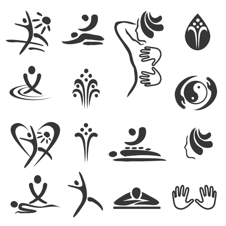 massaggio: Icone massaggio termale. Set di icone nere di spa e massaggi. Vector disponibili. Vettoriali