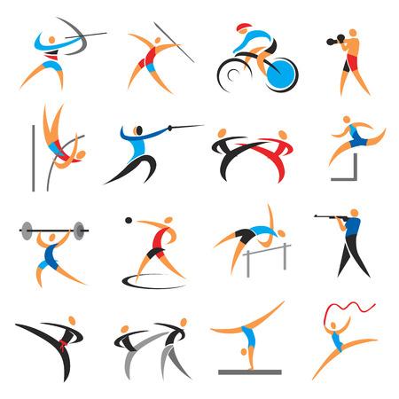 silueta ciclista: El sistema del verano juegos deporte iconos. Iconos de colores con actividades de verano juegos de deportes. Vector disponible.