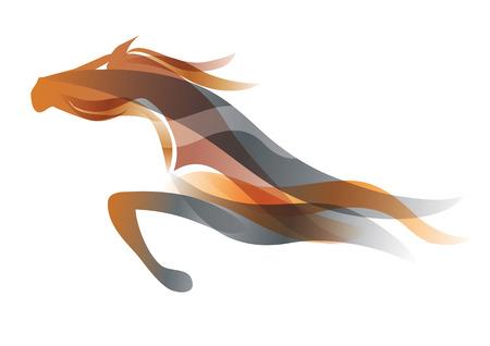 Uruchamianie konia. Kolorowe stylizowane ilustracj? Jazdy konia. Wektor dostępny. Ilustracje wektorowe