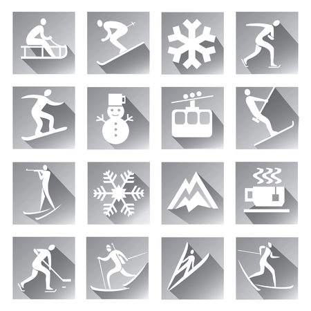 competitors: Winter sport web icons.  Winter sport grey web icons set of modern icons with long shadow with winter sport symbols. Vector available.