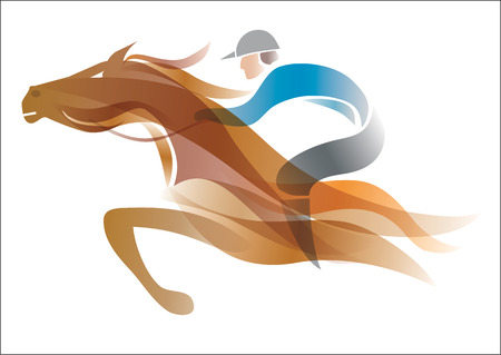 racehorse: Jockey on the horse. Colorful stylized illustration of Jockey on the running horse. Vector available.