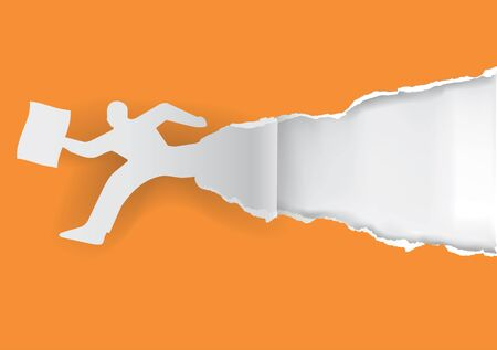 office paper: Running man with office paper. Paper man silhouette ripping orange paper with place for your text or image. Template for a original advertisement. Vector available.