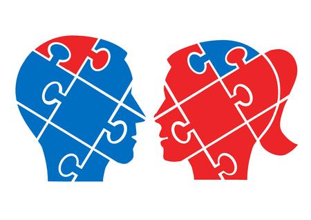 Hombre Mujer entender el concepto. Dos rompecabezas dirige siluetas que simbolizan el entendimiento entre el hombre y la mujer. Vector disponible.