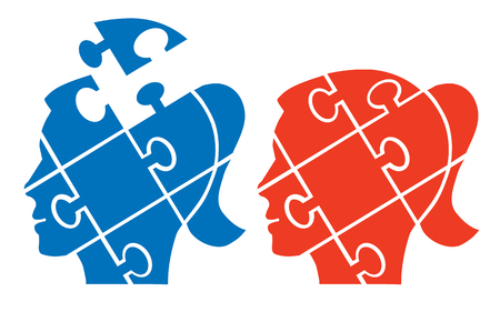 female silhouettes: Woman head puzzle. Two Puzzle female heads silhouettes symbolizing psychology, psychological problems. Vector available.