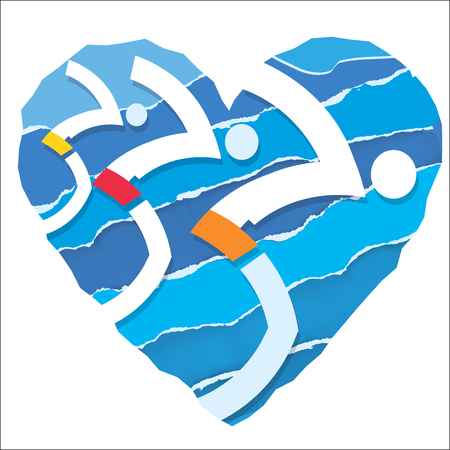 challenger: Swimmers at the start. Three jumping swimmers on the paper heart background. Stylized illustration.Vector available.