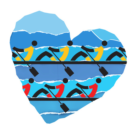 stamina: We love rowing. Rowers competitors on the paper heart background. Stylized illustration.Vector available.