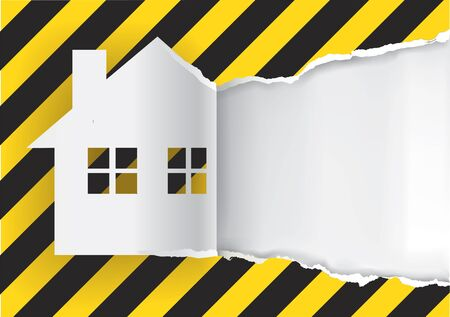 vector sign under construction: House under renovation. Illustration of ripped paper paper house with construction sign symbol with place for your text or image. Vector available.