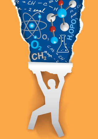 pedagogy: Discover the world of chemistry. Human silhouette ripping paper with chemistry symbols and notes. Vector available.