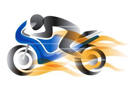 炎でバイク ライダー。競争相手と燃えるオートバイの様式化された図。使用可能なベクトル。