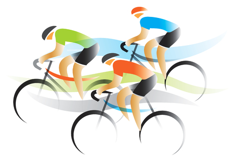 road cycling: Bicycle road race. Three cyclists competitors. Colorful stylized illustration. Vector available.