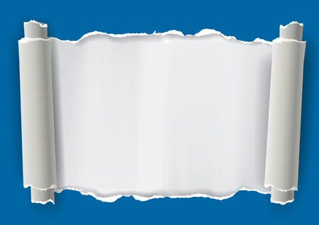 Torn rolled paper background. Illustration of blue Torn rolled paper with place for your image or text.