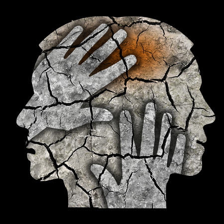 esquizofrenia: La esquizofrenia masculina silueta de la cabeza. Hombre que sostiene la cabeza.
