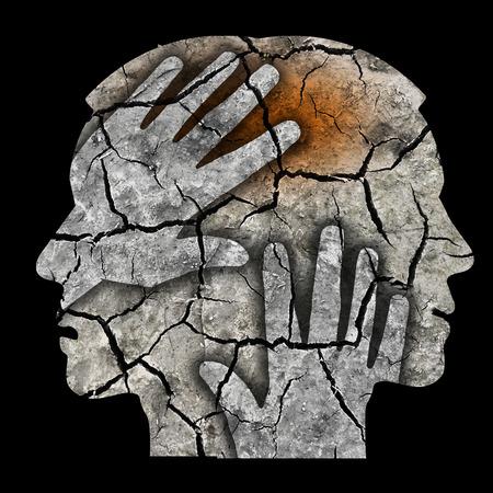 retardation: Schizophrenia male head silhouette. Man holding his head.