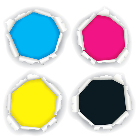 four color printing: Torn paper holes with print colors. Illustration of four white paper torn hole with print colors. Concept for presenting of color printing.