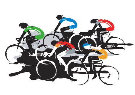 competitors: Road cycling racers Illustration