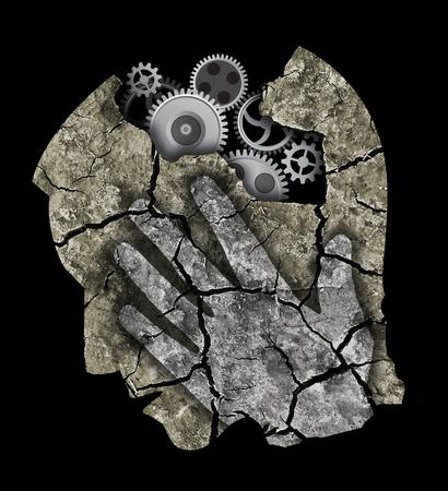 trauma: Alzheimers disease dementia. StylizadMale head silhouette with gear.