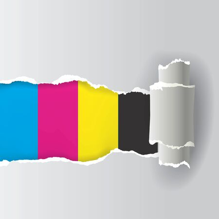 polygraph: Ripped paper with print colors. Illustration of ripped paper with printing colors. Concept for presenting color printing. Illustration