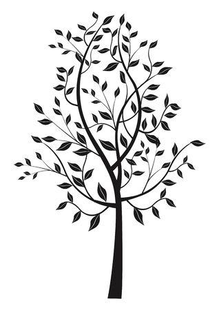 leafy: Black leafy tree silhouette. Black stylized silhouette of d leafy tree.