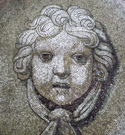 mosaic: Head angel mosaic. Mosaic dome of St. Peters Basilica in Vatican.