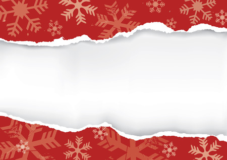 Red Ripped Christmas paper. Red grunge snowflakes background with torn paper with place for your text or image. Stock Illustratie