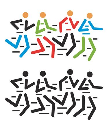 tracing: Runners race. Group of runners racing . Colorful stylized illustration. Illustration