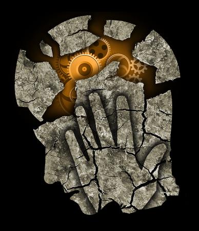 esquizofrenia: La cabeza del hombre Depresión dolor de cabeza estrés. Foto de archivo