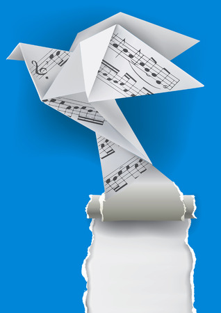 songbook: Origami paper pigeon with musical notes ripping paper background.