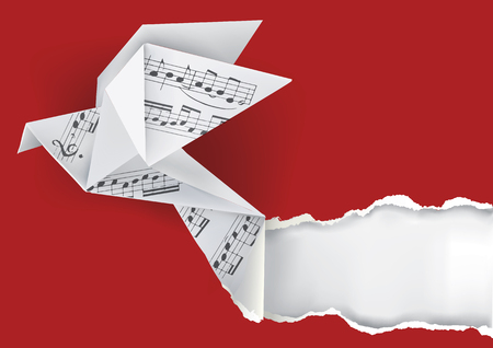 Origami paper pigeon with musical notes ripping paper background.