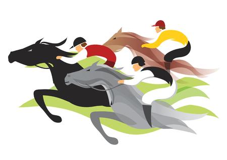 말 경주. 경마의 다채로운 양식에 일치시키는 그림. 일러스트