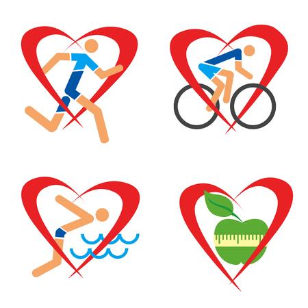 forme et sante: icônes de remise en forme de coeur de la santé. Icônes avec coureur, nageur, un cycliste et la pomme en forme de coeur. Illustration
