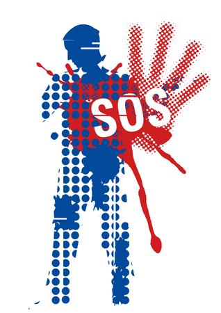 Männlich Silhouette Opfer von Gewalt. Junger Mann Grunge stilisierte Silhouette Abdeckung Streik mit Zeichen SOS. Illustration