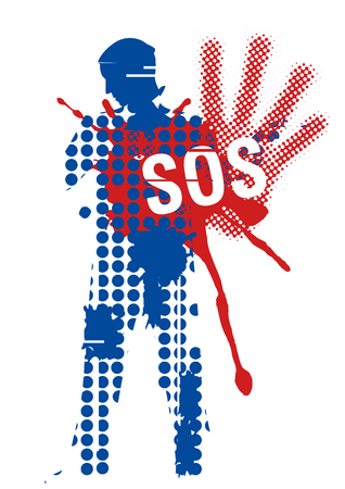 victim: Male silhouette victim of violence. Young man grunge stylized silhouette covering strike with sign SOS. Illustration