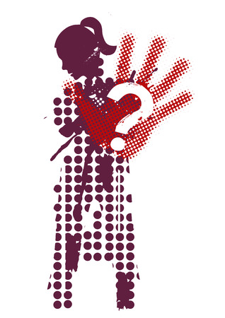 upset woman: Female silhouette victim of violence. Young woman grunge stylized silhouette covering strike.