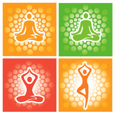 breathing exercise: Yoga pose icons. Abstract decorative backgrounds with yoga symbols and positions.