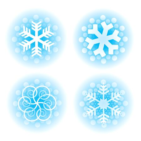 Decorative christmas snowflakes. Four blue decorative snowflakes on the white background.