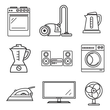 iron fan: Set of black home electronics icons. Illustration