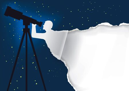 astronomer: Astronomer with telescope background. Paper background with astronomer silhouette with telescope. Template with place for your image or text.