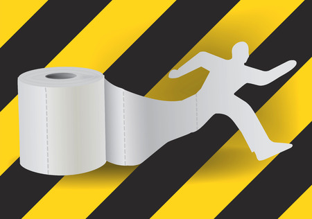 intestinal problems: Toilet paper with running man. Silhouette of running man taking off from a roll of toilet paper. Concept for intestinal problems.   Vector available.