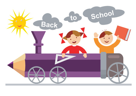 small girl: Back to School. Small boy and girl ridden in the crayon-locomotive.