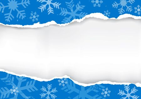 torn: Paper grunge snowflakes background. Blue grunge snowflakes background with torn paper with place for your text or image. Illustration
