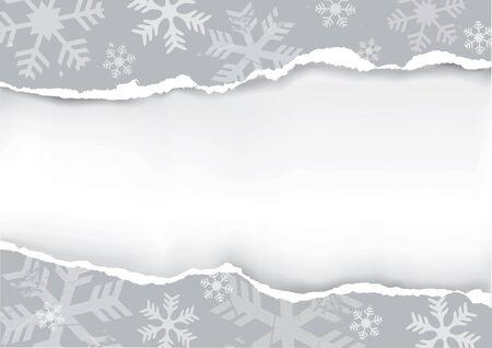 Copos de nieve grunge de fondo. Fondo gris de los copos de nieve grunge con papel rasgado con lugar para el texto o la imagen.