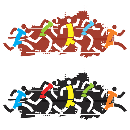 athletes: Running competition. Colorful stylized illustration of race runners on the black and red background. Vector available.