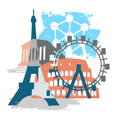 travel collage: Europe monuments grunge collage. Grunge stylized Collage of Famous European buildings. Vector available. Illustration