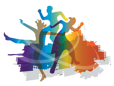 Modern dance disco dancers. Disco dancers silhouettes on the grunge background. Vector available.