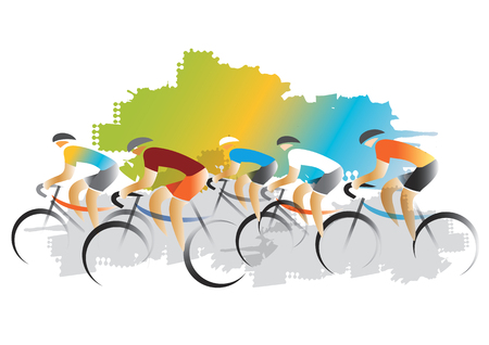 Cyclist racers. Colorful illustration of Cyclist racers imitated watercolors painting. Vector available. Illustration
