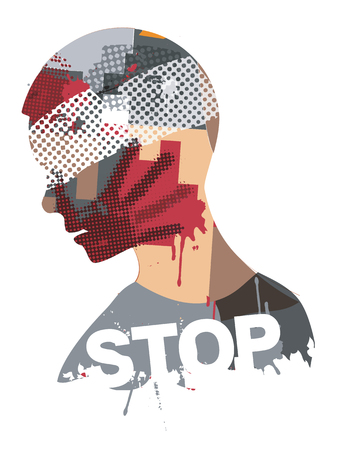 Stop violence and war.  Human head silhouette with bandage and wound symbolizing violence and a war. Vector available.