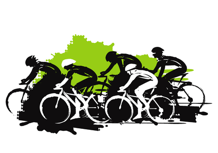 Road cycling racers. Expressive stylized illustration of cyclist imitating drawing ink and brush. Vector available. Фото со стока - 68346354