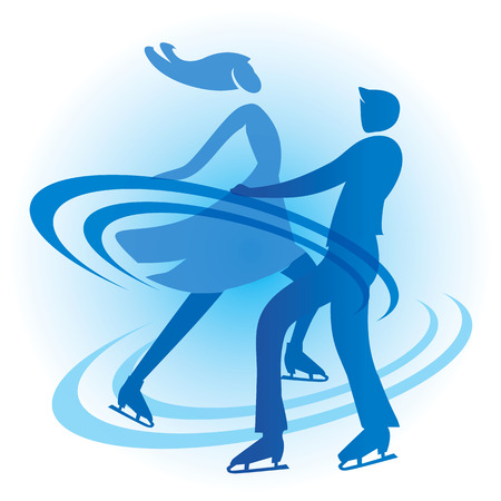 skaters: Ice Skating Skaters couple. Stylized Silhouette of a couple of ice skating skaters. Vector available.