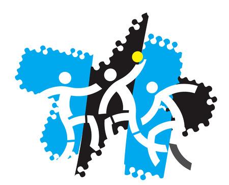 Handball players. Illustration of Three stylized handball players on the grunge background. Vector availabl